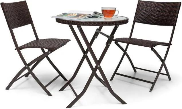 Blumfeldt Unrise 3 buc. Masacu LED-uri Rattan Bistro Set bistro și 2 scaune pliante mobilier din sticla maro