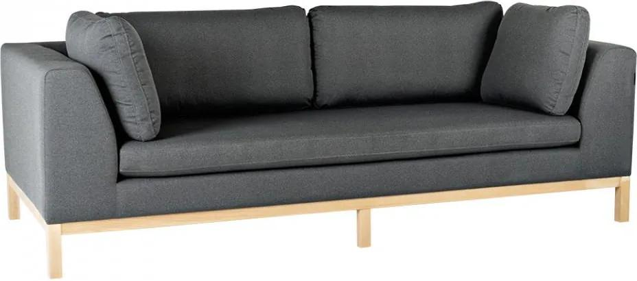 Canapea gri inchis/maro din textil si lemn pentru 3 persoane Ambient