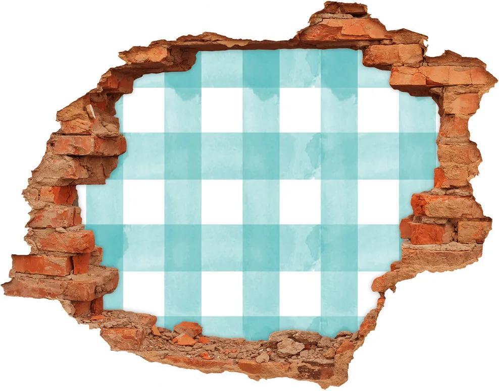 Autocolant de perete gaură 3D Grila albastru