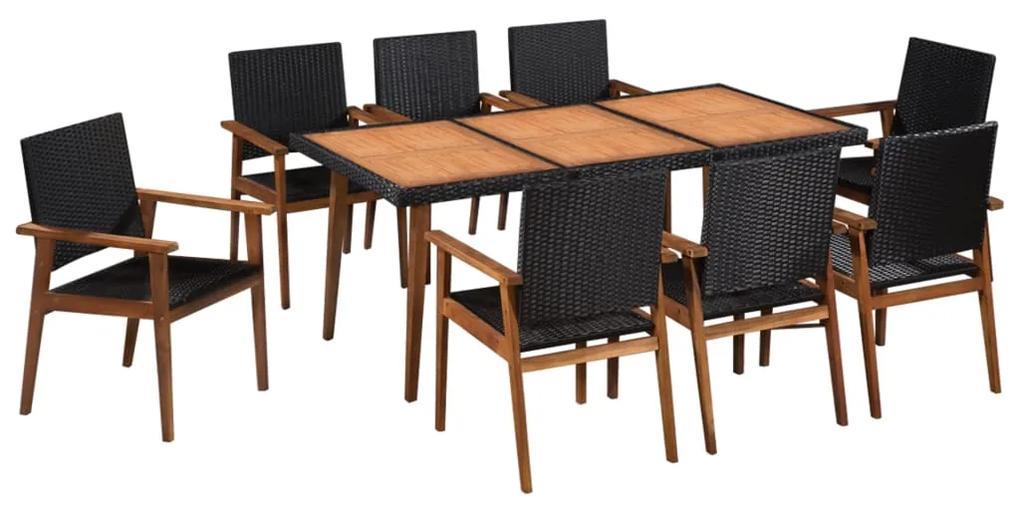 44078 vidaXL Set mobilier de exterior, 9 piese, negru și maro, poliratan
