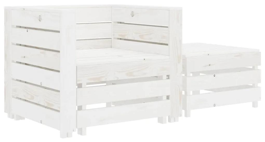 49351 vidaXL Set mobilier grădină din paleți, alb, 2 piese, lemn