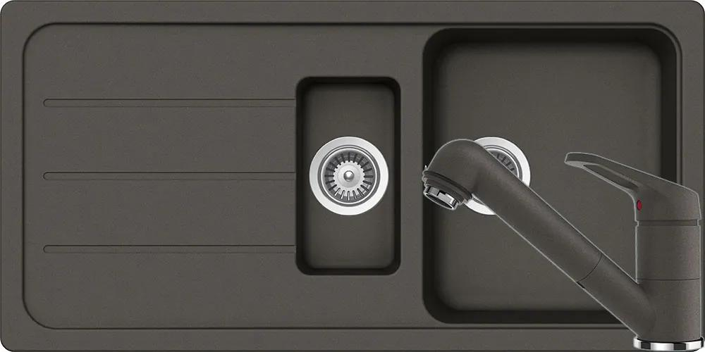 Set Chiuveta Schock Formhaus D-150L 1000 x 500 mm si Baterie Schock Cosmo cu Dus Extractibil Asphalt Cristalite