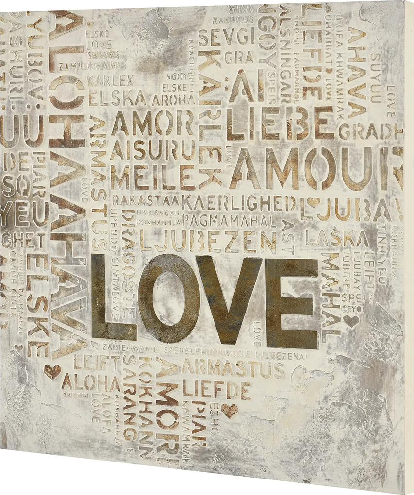 [art.work] Tablou pictat manual - Love model 2- panza in, cu rama ascunsa - 60x60x2,8cm