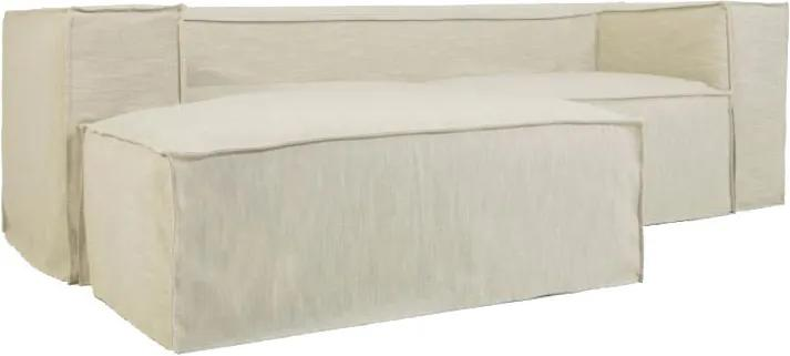 Canapea cu colt alba din poliester si viscoza pentru 2 persoane Blok Left Kave Home