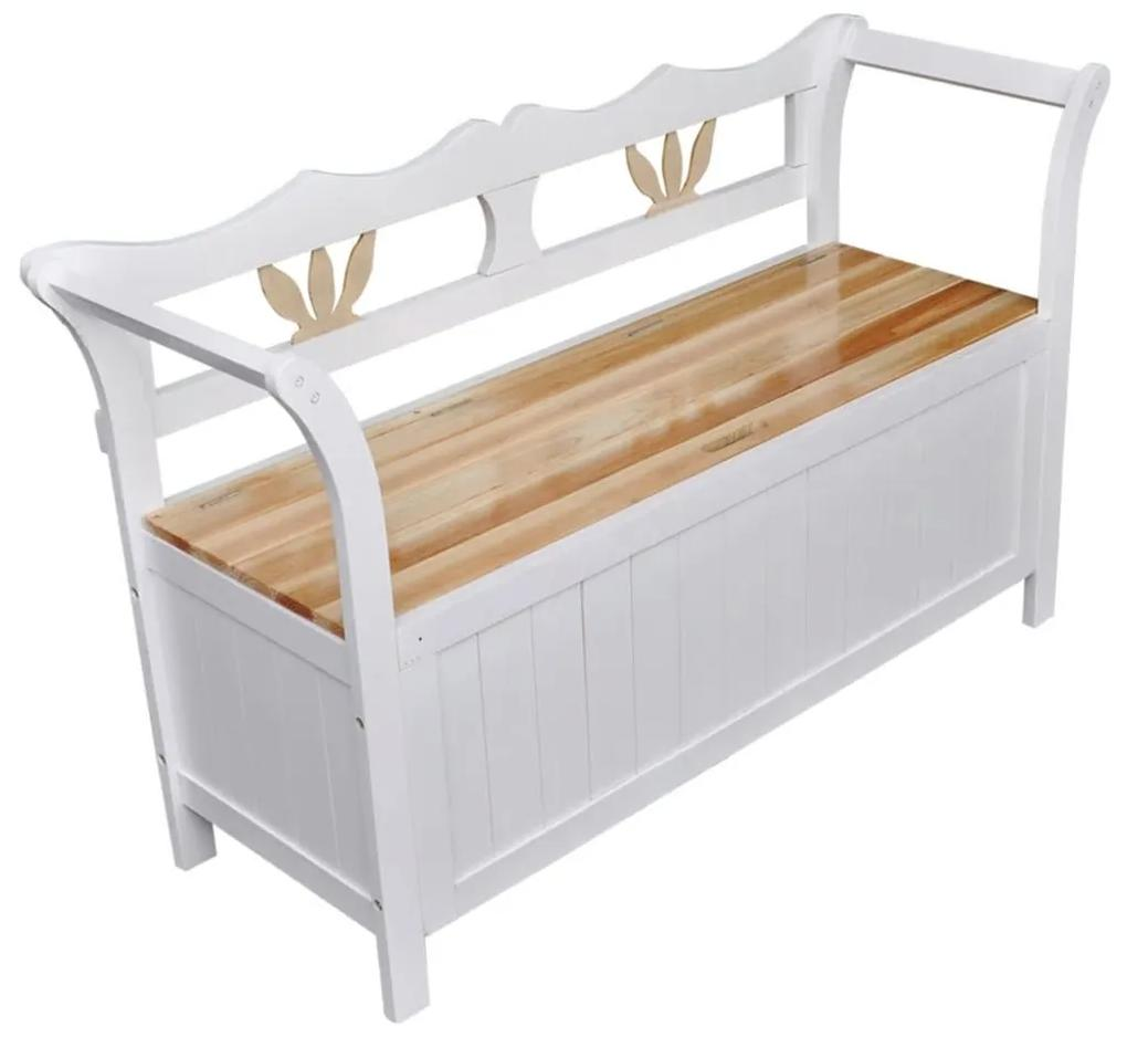 60765 vidaXL Băncuță de depozitare, 126 x 42 x 75 cm, alb, lemn