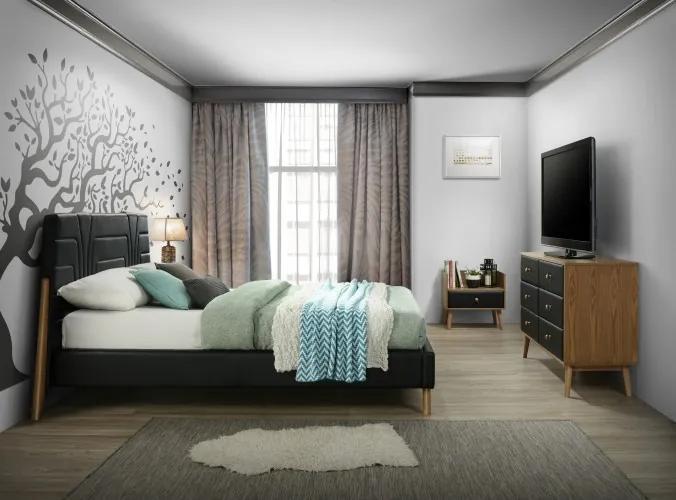 Set Mobila Dormitor tapitat cu piele ecologica, pat 200 x 160 cm, 4 piese Stilt Negru / Stejar