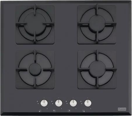 Plita gaz incorporabila Franke New Glass FHNS 604 4G BK C, 4 arzatoare, aprindere electronica la buton, valva de siguranta, 59x52 cm, sticla neagra
