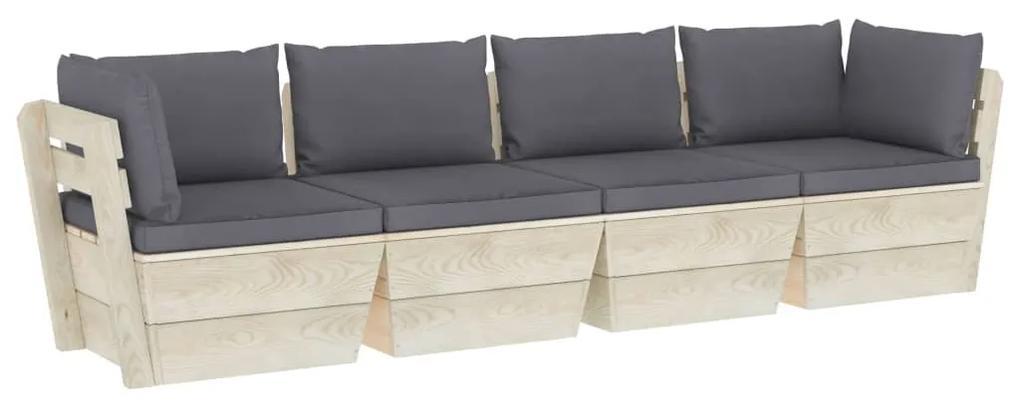 3063444 vidaXL Canapea de grădină din paleți, 4 locuri, cu perne, lemn molid