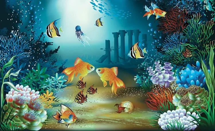 Fishes Corals Sea Fototapet, (368 x 254 cm)