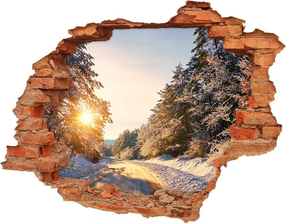 Fototapet un zid spart cu priveliște Drumul în pădure de iarnă