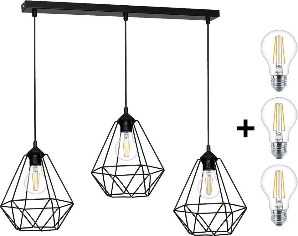 LED Lampă suspendată BASKET 3xE27/7W/230V