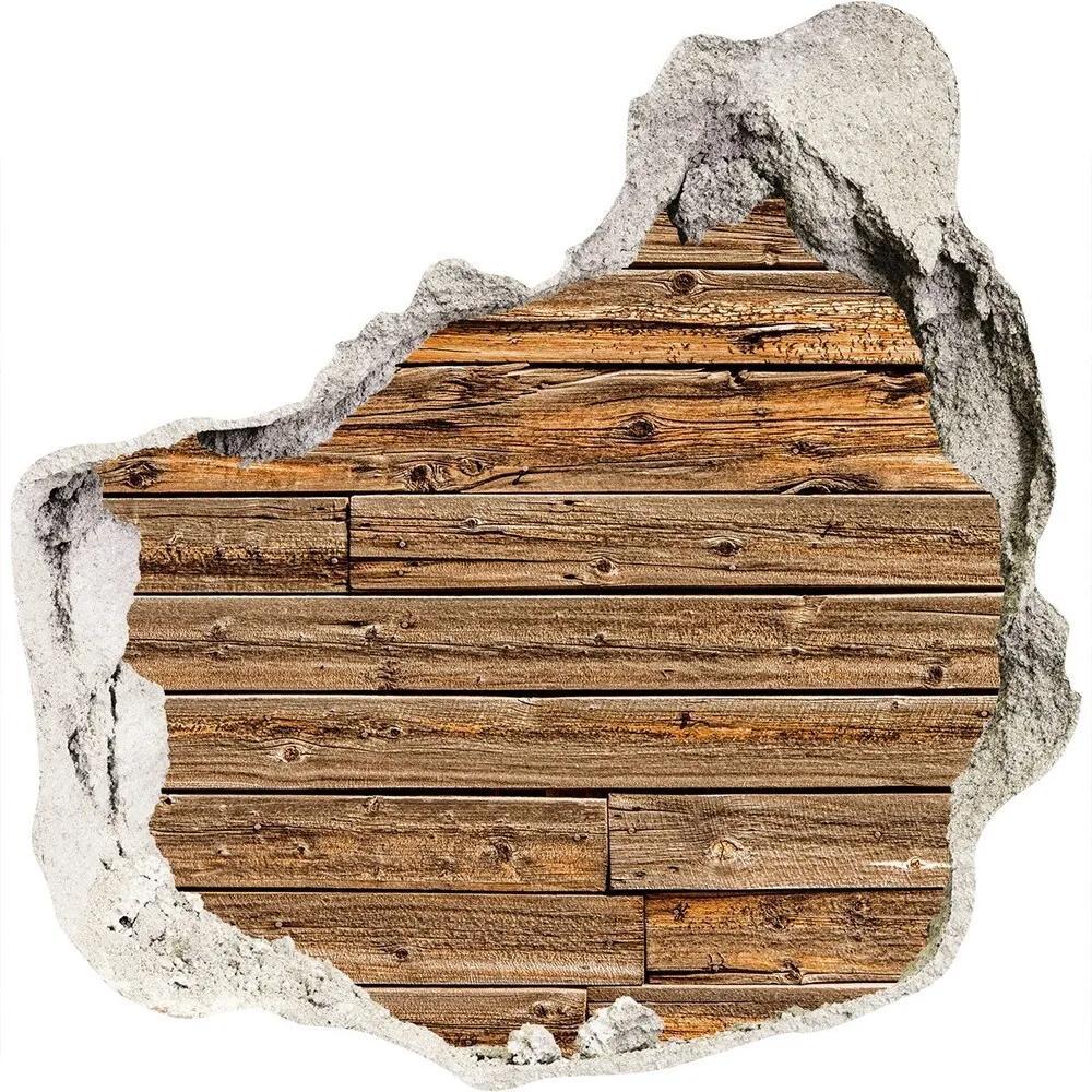 Autocolant gaură 3D De perete din lemn