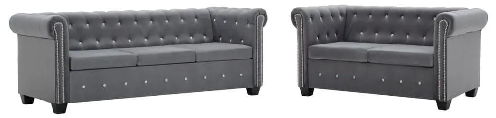 275617 vidaXL Set canapele Chesterfield, 2 buc, tapițerie catifea, gri