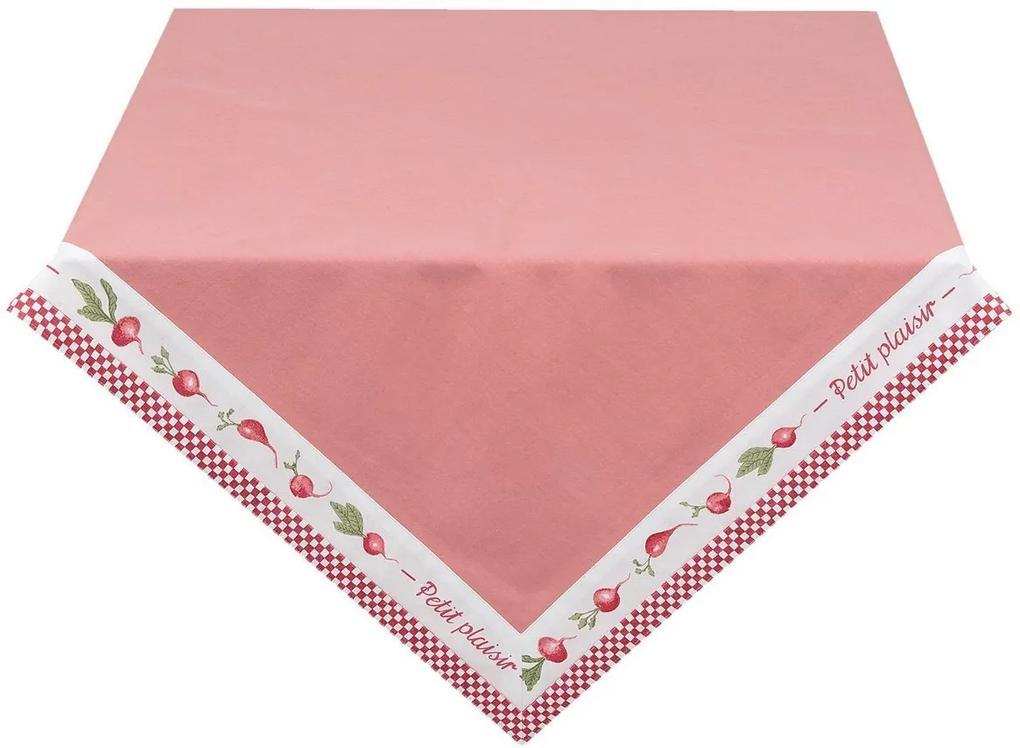 Fata de masa bumbac alb rosu Petit 100 cm x 100 cm