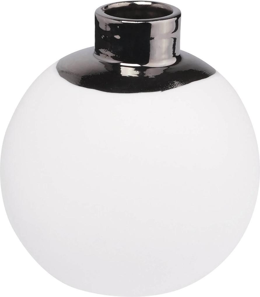 Vaza portelan Snowball Small, silver / white