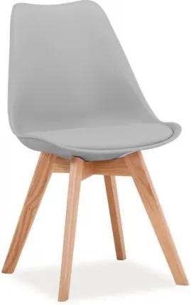 Scaun tapitat cu piele ecologica, cu picioare din lemn Kris Light Grey / Oak, l49xA41xH83 cm