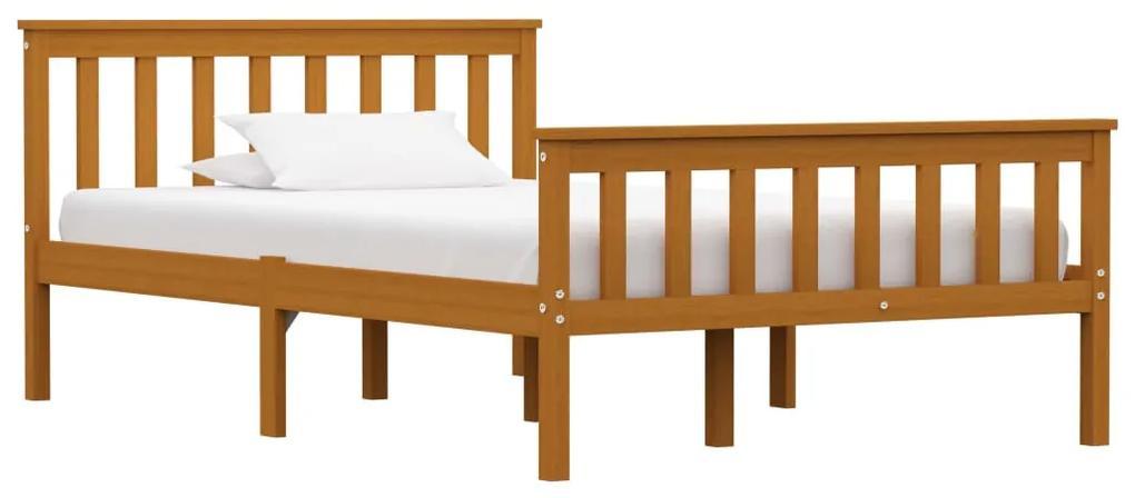 283240 vidaXL Cadru de pat, maro miere, 120 x 200 cm, lemn masiv de pin