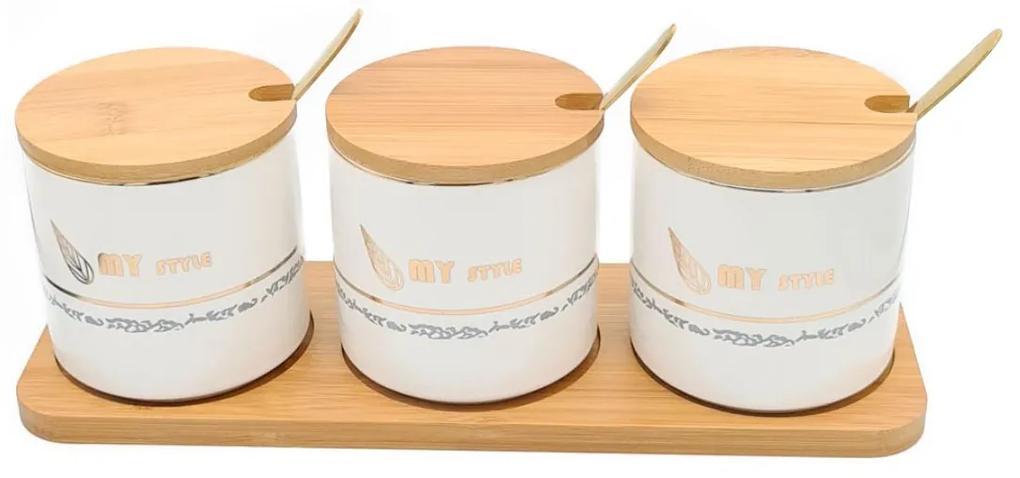 Set pentru Condimente 3 recipiente  ceramice cu lingurite si tava din Bambus, My Style