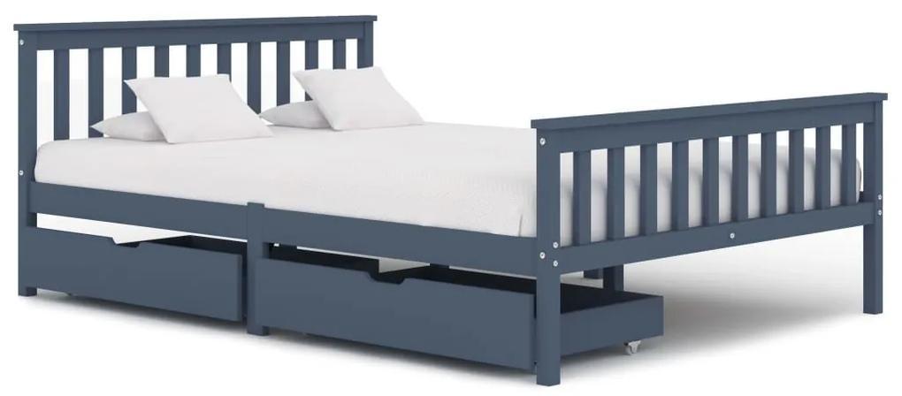 3060705 vidaXL Cadru de pat cu 2 sertare, gri, 140 x 200 cm, lemn masiv pin