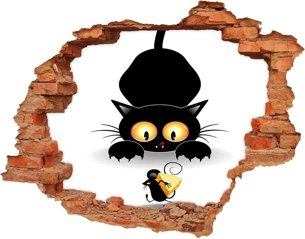 Autocolant un zid spart cu priveliște Pisica si soarecele