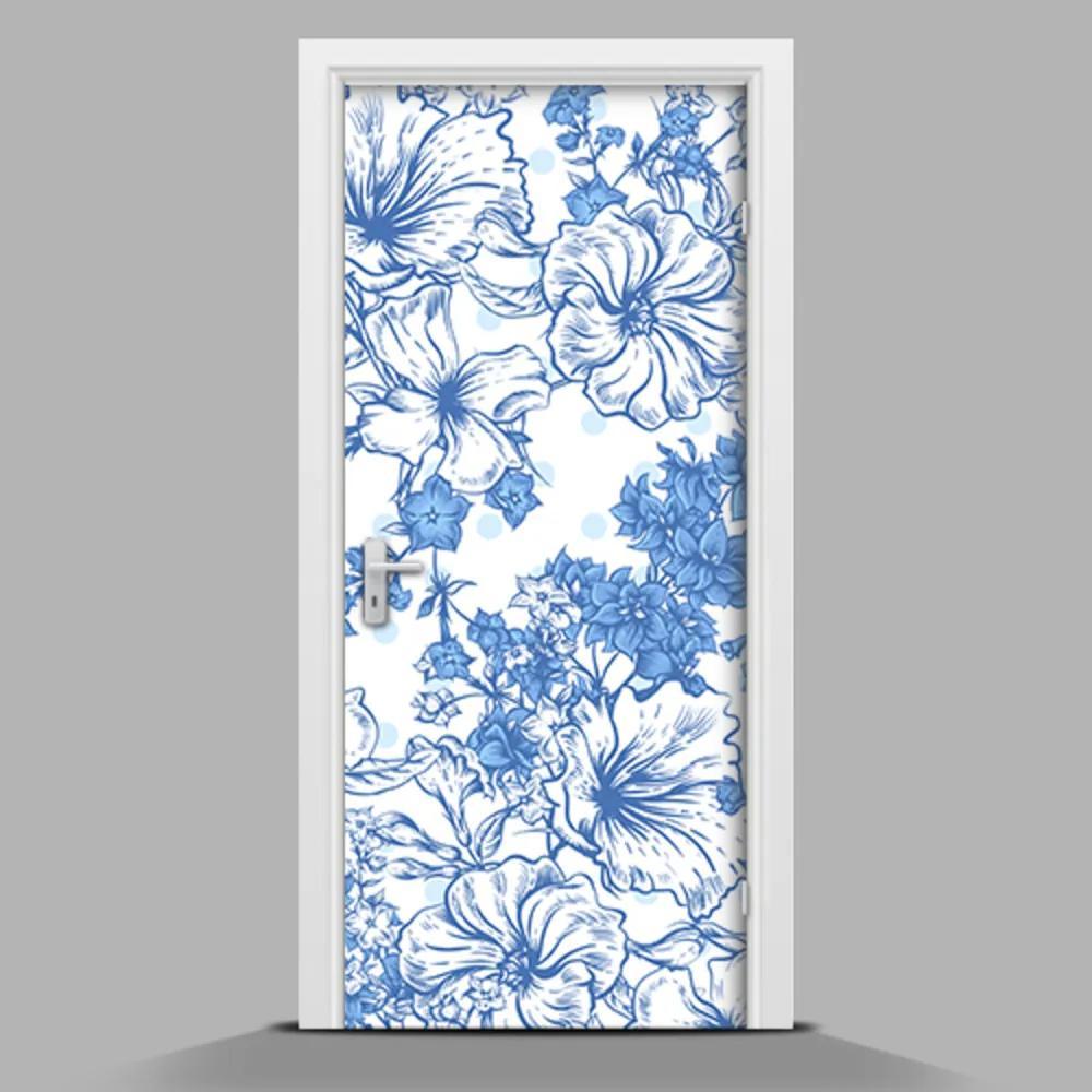 Autocolant de uși Flori pictate în kolrze albastru