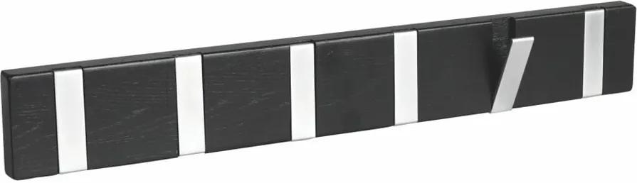 Cuier din lemn de stejar cu 6 cârlige Rowico Odin, negru