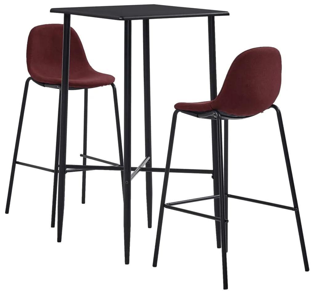 279969 vidaXL Set de bar, 3 piese, roșu vin, material textil