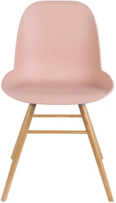 Scaun plastic cu picioare din lemn Albert Kuip Old Pink