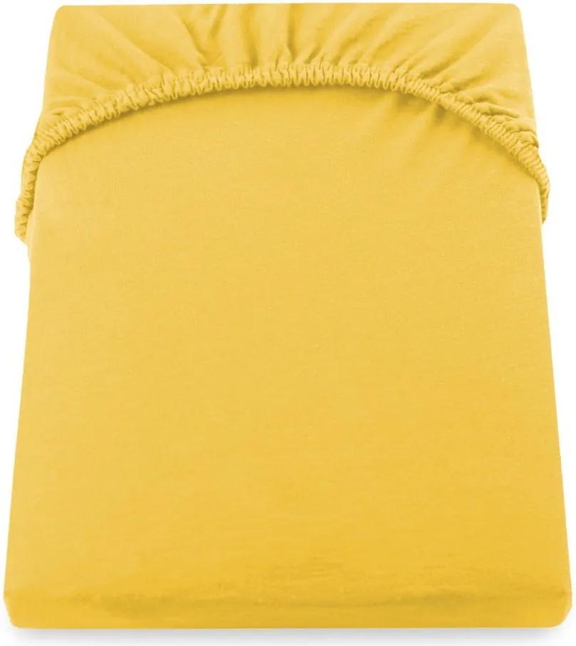 Cearșaf de pat galben DecoKing Amber Collection,180-200 x 200 cm