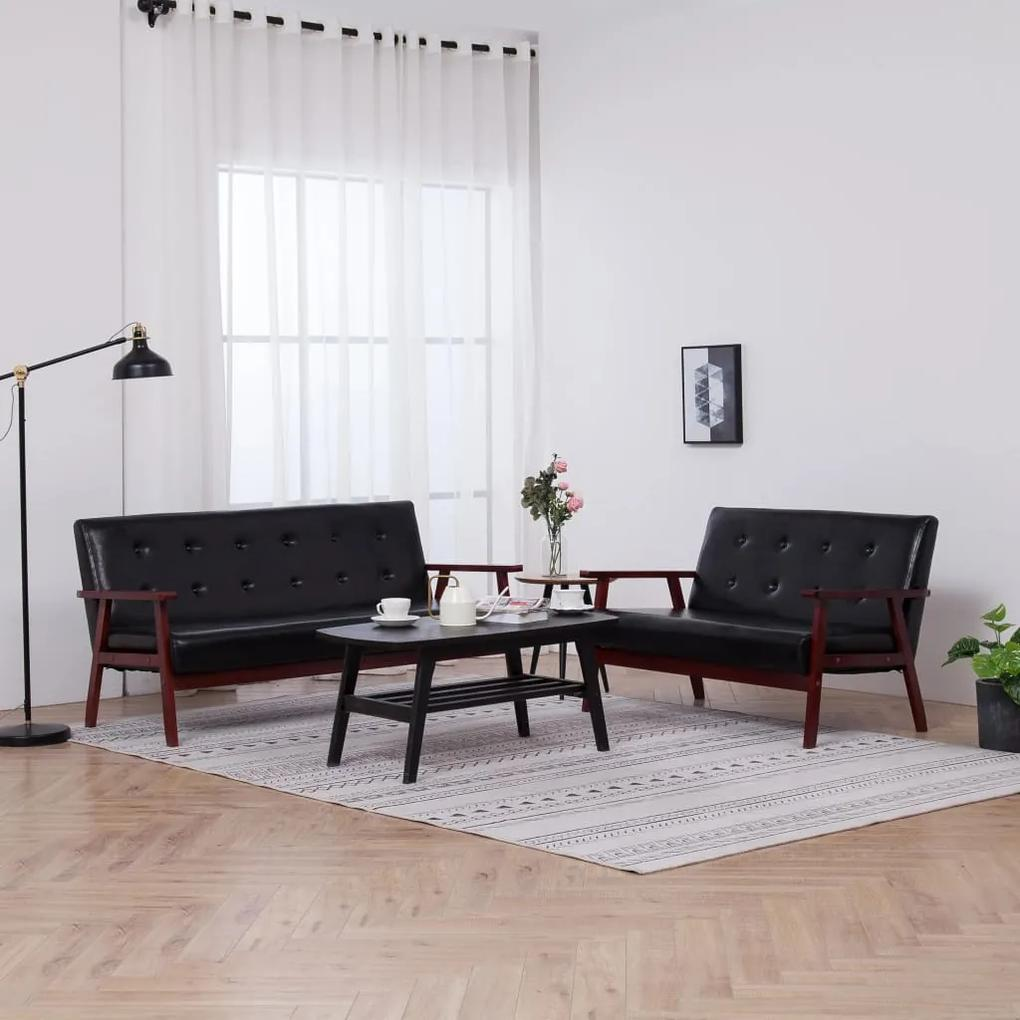 278396 vidaXL Set de canapele, 2 piese, negru, piele ecologică