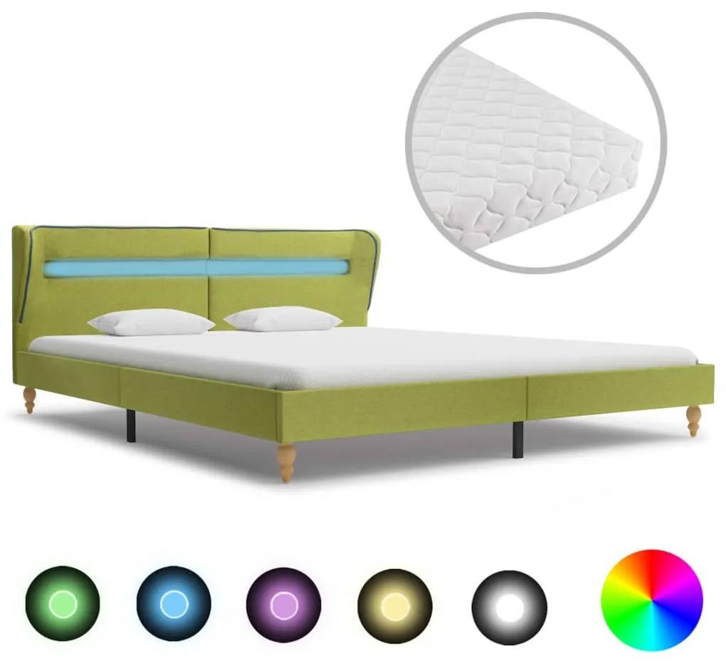 278371 vidaXL Pat cu LED și saltea, verde, 160 x 200 cm, material textil