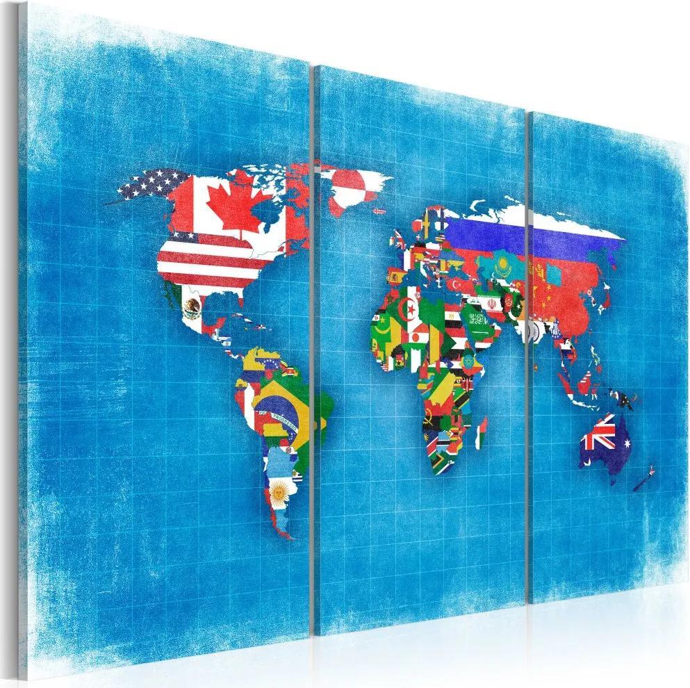 Bimago Tablou - Flags of the World - triptych 60x40 cm