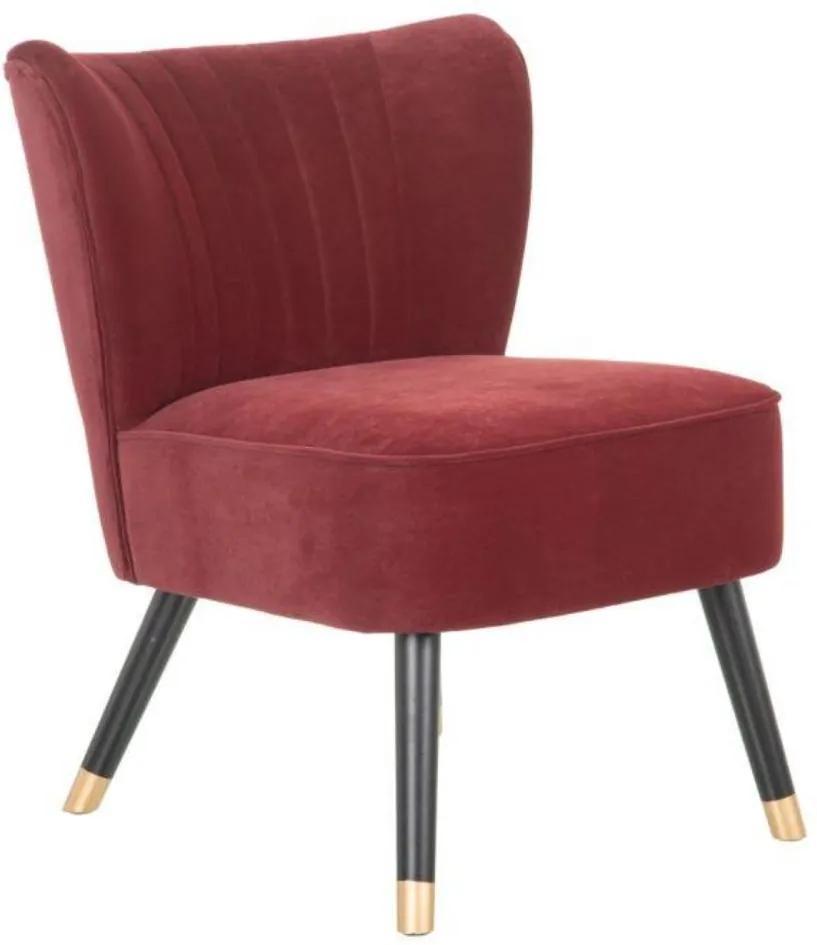 Fotoliu din catifea rosu si picioare din lemn Armchair Velvet Red