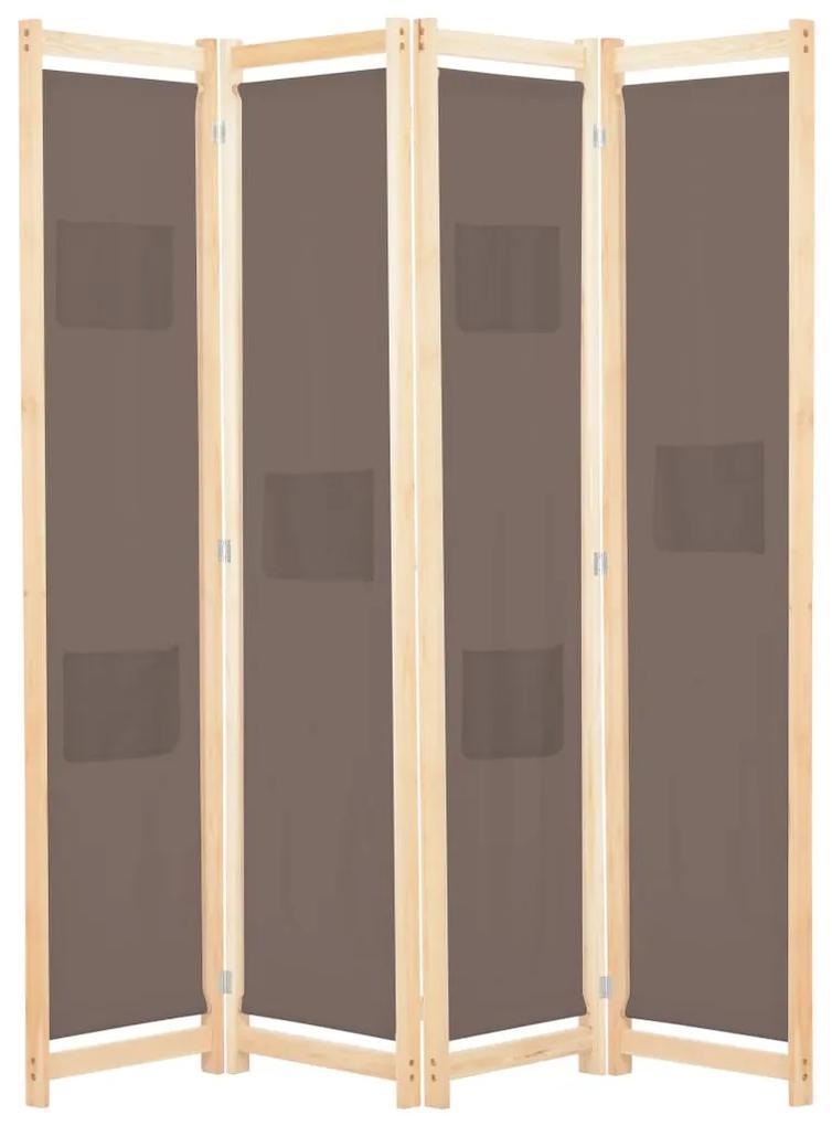 248180 vidaXL Paravan de cameră cu 4 panouri, maro, 160x170x4 cm, textil