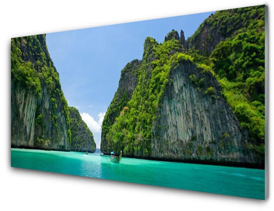 Tablou pe sticla acrilica Peisaj rezervat Albastru Gri Verde