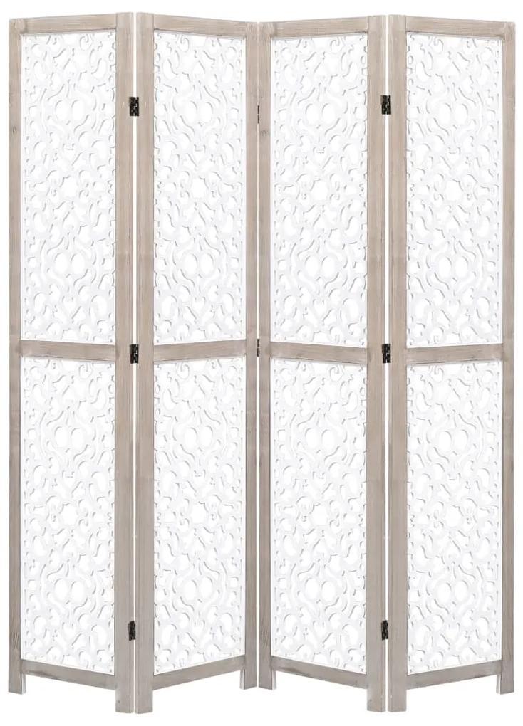 284196 vidaXL Paravan de cameră cu 4 panouri, alb, 140 x 165 cm, lemn masiv