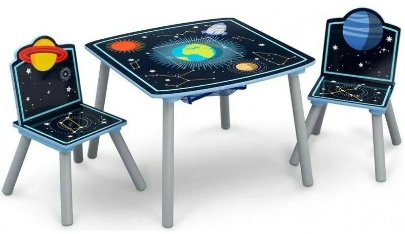 Delta Children - Set Multifunctional Masuta cu 2 scaunele Space Adventures din Lemn, 61x61 cm