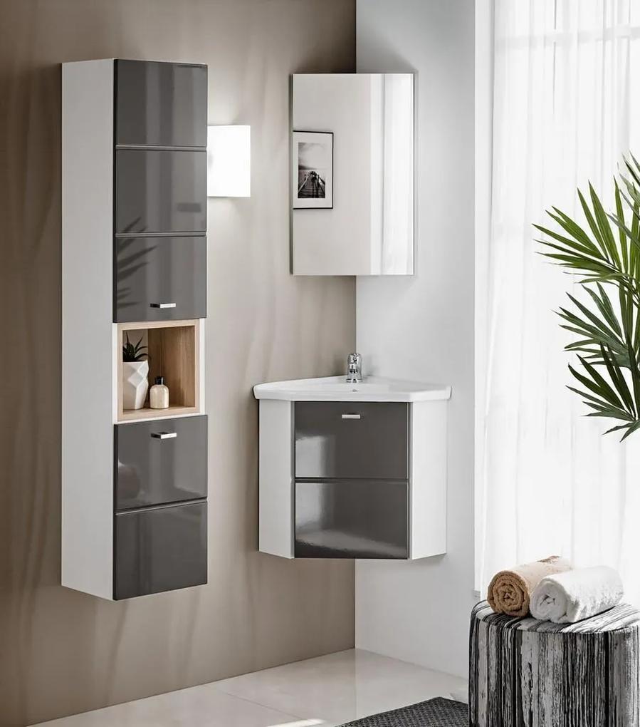 Set mobilier pentru baie de colt 3 piese Finka Grey