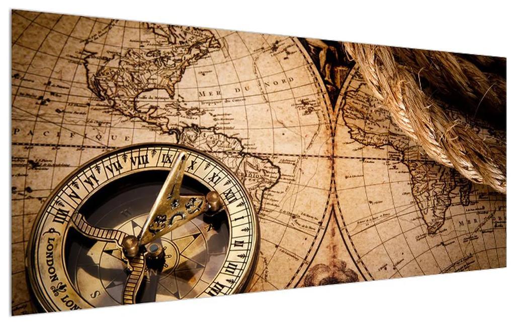 Tablou cu harta lumii și busolă (K011133K12050)