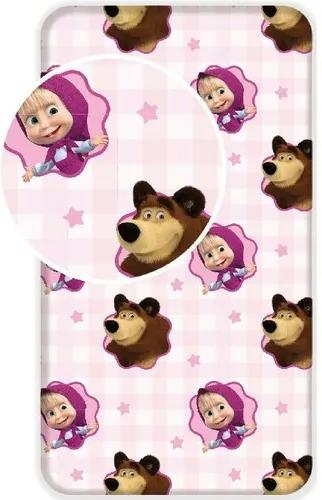 Cearşaf pentru copii din bumbac Masha și ursul, 90 x 200 cm