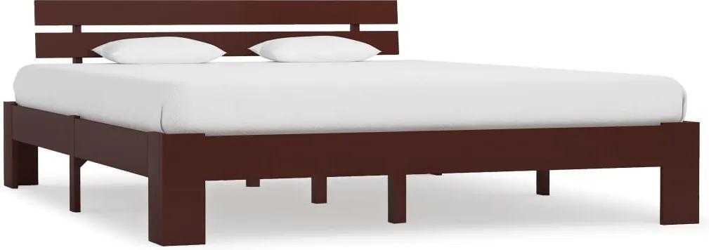 Cadru de pat, maro inchis, 180 x 200 cm, lemn masiv de pin