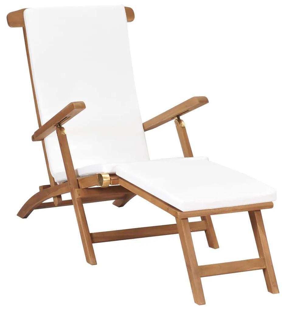 47408 vidaXL Șezlong cu pernă, alb crem, lemn masiv de tec