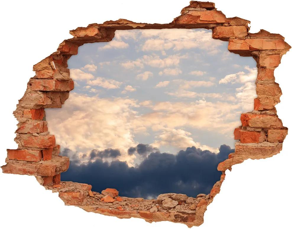 Fototapet un zid spart cu priveliște Nori pe cer