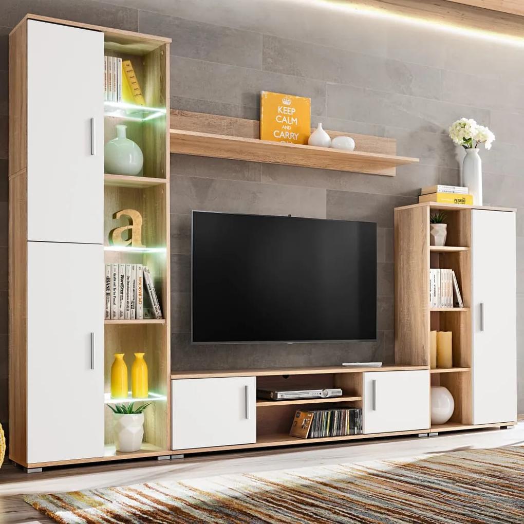 246030 vidaXL Mobilier sufragerie spațiu TV, lumini LED, Stejar Sonoma și Alb