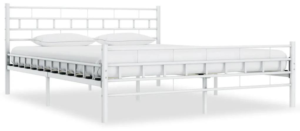 285298 vidaXL Cadru de pat, alb, 140 x 200 cm, metal