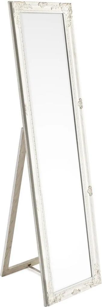 Oglinda decorativa de podea cu rama lemn alb patinat Miro 40 cm x 3 cm x 160 h
