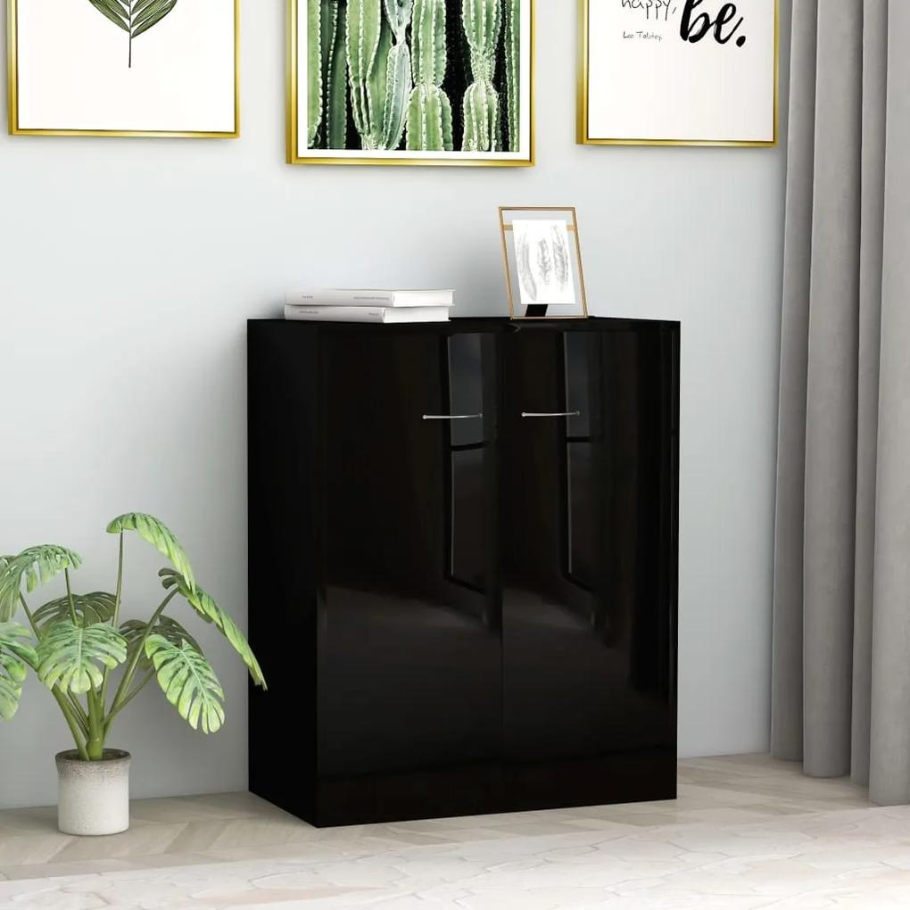 800736 vidaXL Servantă, negru lucios, 60 x 30 x 75 cm, PAL