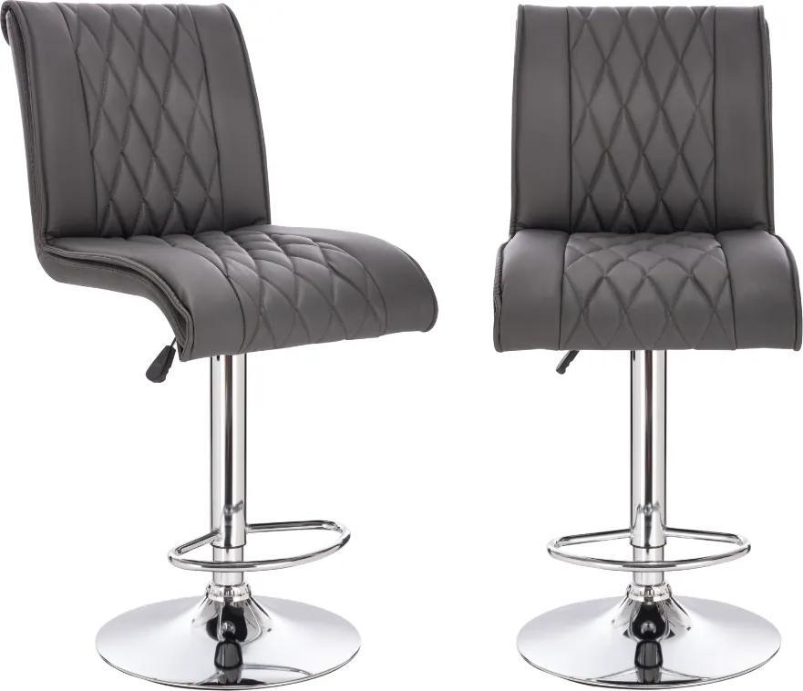 Set 2 scaune de bar Bristol, PU, Gri