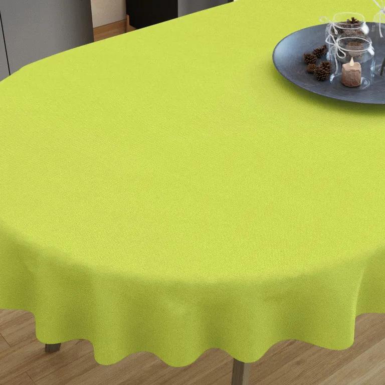 Goldea față de masă decorativă  loneta - verde - ovale 40 x 80 cm