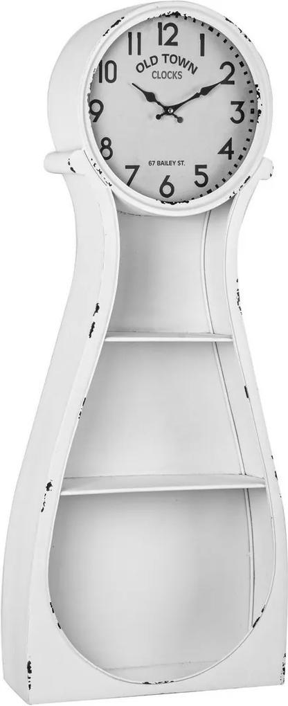 Raft de perete cu ceas metal alb antichizat Roland 38.5 cm x 12 cm x 98 h